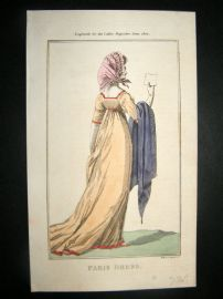 Lady's Magazine 1802 H/Col Regency Fashion Print. Paris Dress 16